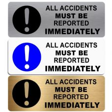 All Accidents Must Be Reported Immediately-WITH IMAGE-Aluminium Metal Sign-Door,Notice,Business